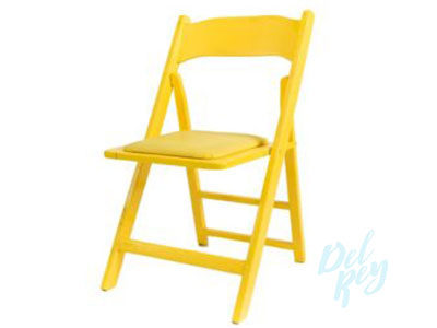Yellow Wood Folding Chair Padded Seat